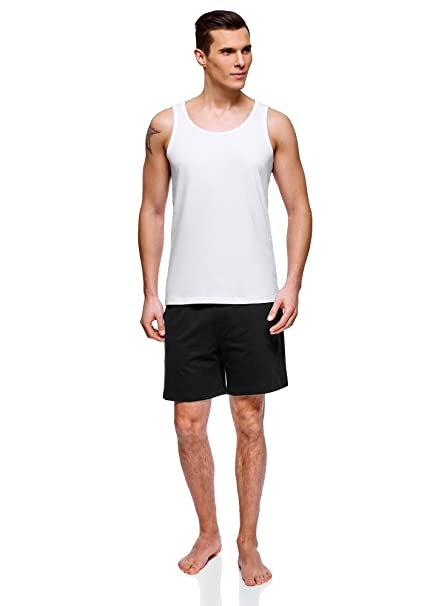 oodji Ultra Hombre Pijama de Algodón con Pantalón Corto, Blanco, 38cm / ES 44