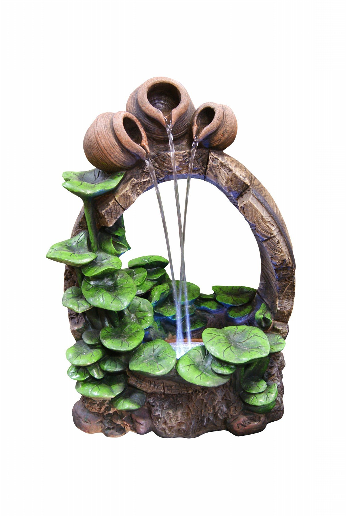 "Alpine WIN854S Barrel Pot Cascading Fountain with LED Light, 22"", Beige - Made of Fiberglass Skillfully crafted to be balanced and durable Pump and all necessary parts included - patio, fountains, outdoor-decor - 71PinNWv4gL -"