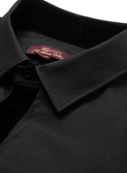 e13dfda8f8 Amazon.com  ME CITY Men s Fashion False Tie Long Sleeve Button Down Shirt