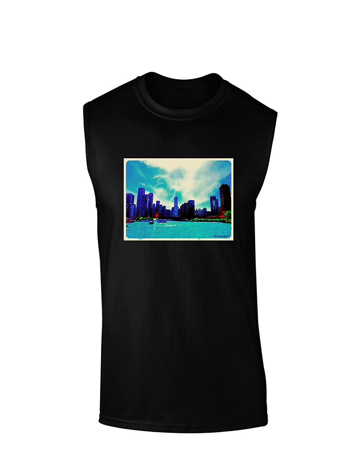 TooLoud Chicago Skyline Watercolor Dark Muscle Shirt