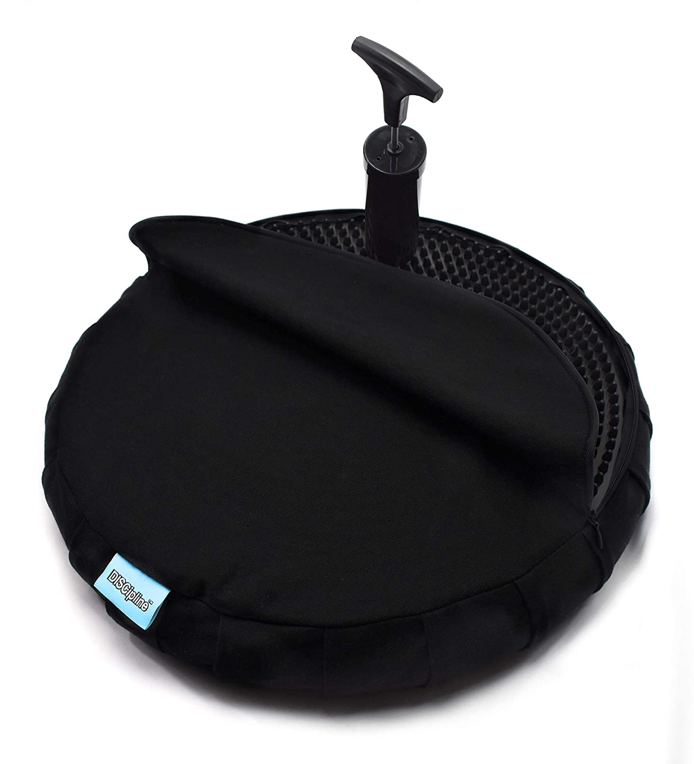 Discipline Adult & Teen Stability Wobble Cushion with Designer Cover & Free Pump - Oversized Extra Large 14.75 inch - for The Office or School - Balance Disc - Wiggle Seat - Back Lumbar Support