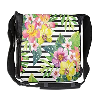 Lovebbag Bouquet With Lily Dahlia Palm Begonia Leaves Orchid Flowers On A Striped Background Crossbody Messenger Bag