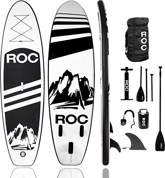 Amazon.com : Roc Inflatable Stand Up Paddle Boards W Free Premium SUP Accessories & Backpack, Non-Slip Deck Bonus Waterproof Bag, Leash, Paddle and Hand Pump (Black) : Sports & Outdoors