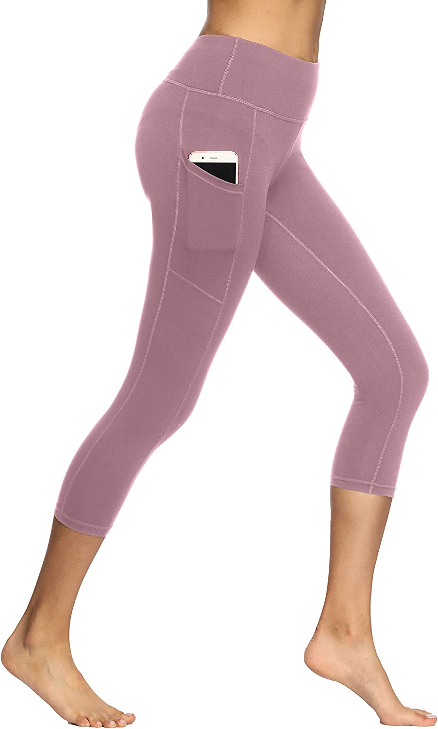 Fengbay/ High/ Waist/ Yoga/ Pants/ with/ Pockets,Yoga/ Capris/ Tummy/ Control/ Workout/ Running/ 4/ Way/ Stretch/ Capris/ Leggings