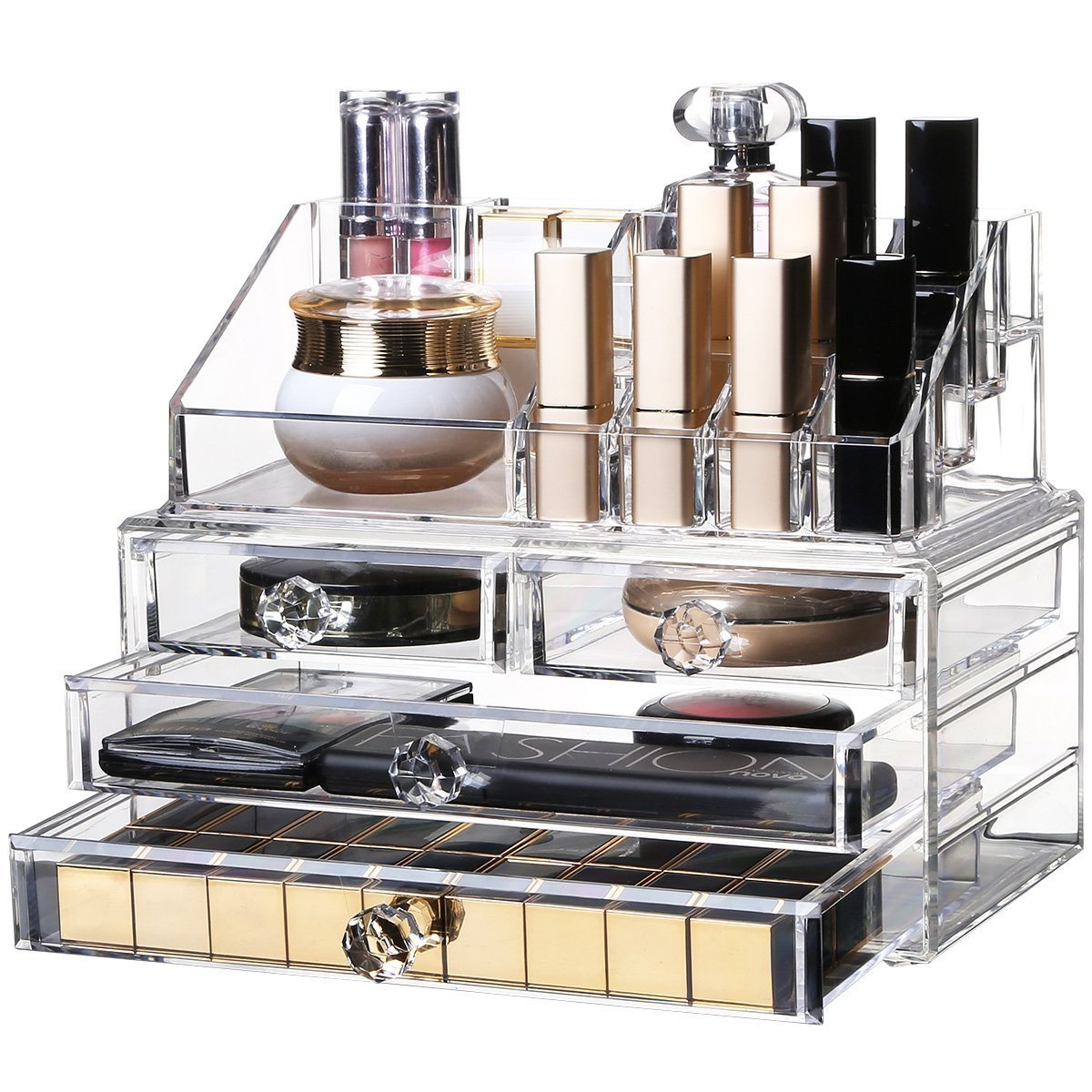 YOLER Makeup Organizer Acrylic Cosmetic Organizer Jewelry Storage Counter Storage Display Case, 2 pieces set: 4 drawers with top section (Classical)