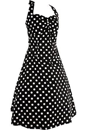 Private Label Pinup Rockabilly Black And White Polka Dot Halter