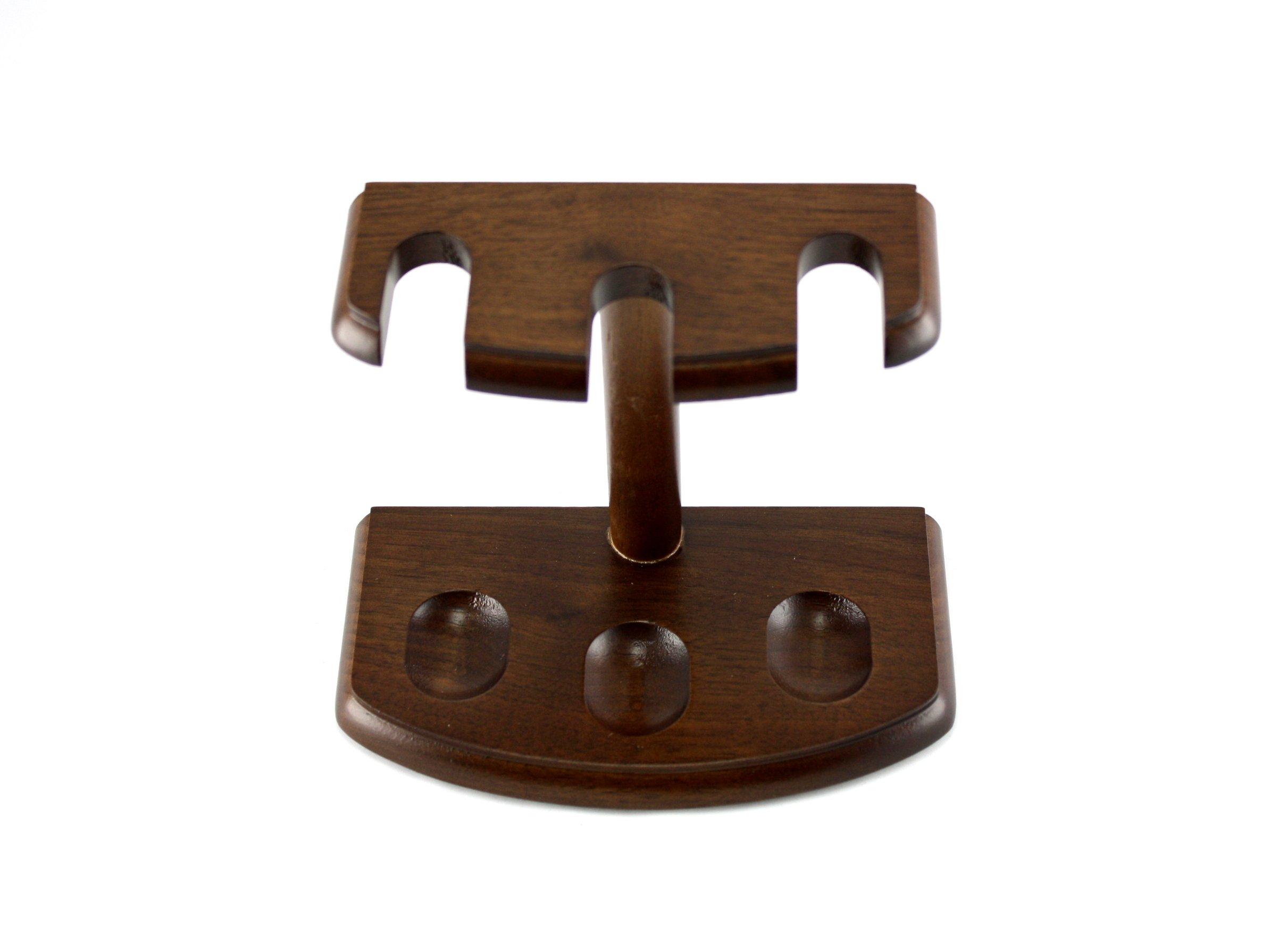 Skyway 3 Pipe Wood Tobacco Pipe Stand Rack Holder - Dark Brown