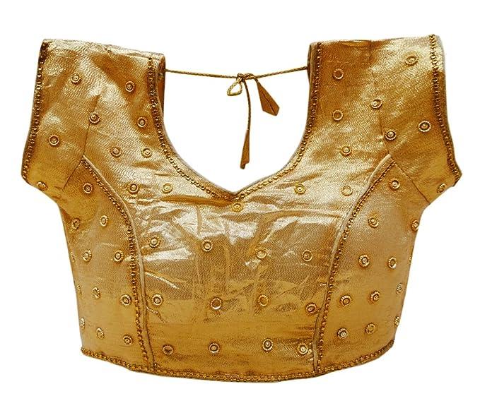 PEEGLI India Shimmer con Cuentas Blusa Mujeres Desgaste De La Boda Acolchado Sari Choli: Amazon.es: Ropa y accesorios