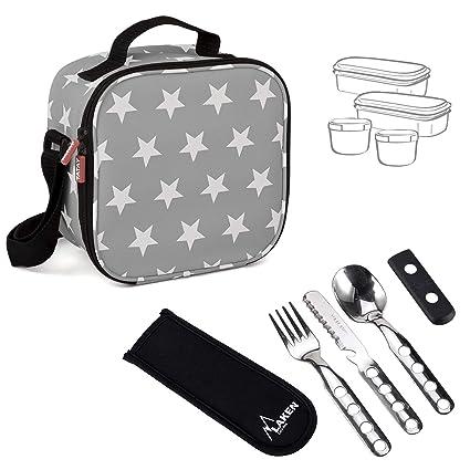 PracticFood Urban Food Stars Grey con Cubiertos Laken - Bolsa Térmica Porta Alimentos con Tapers Herméticos