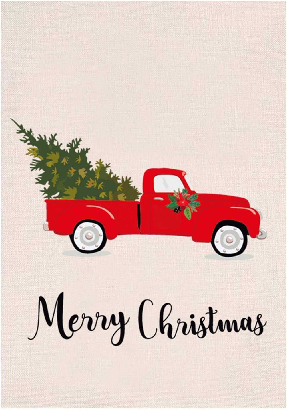 Ujuuu Merry Christmas Garden Flag Vintage Tree Home Xmas Decorative House Yard Flag with Red Truck, Rustic Winter Garden Yard Decorations, New Year Seasonal Outdoor Flag 12 x 18in