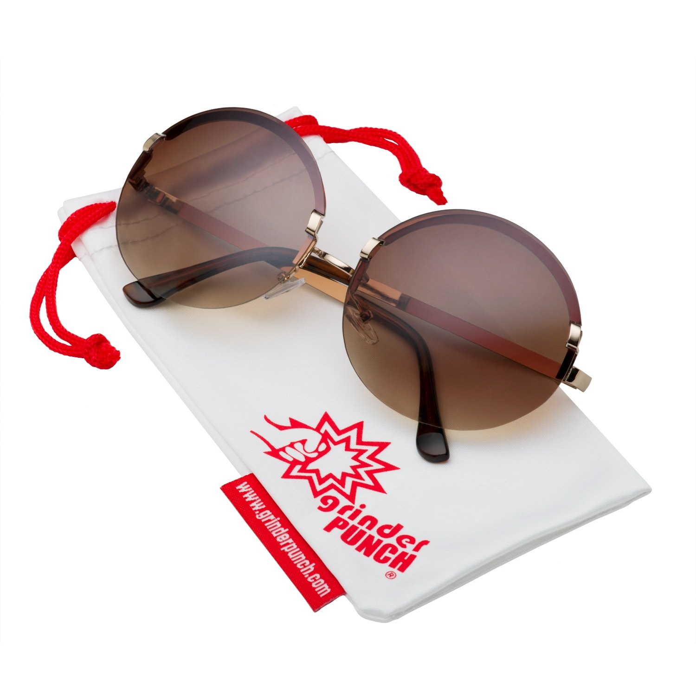 grinderPUNCH Women's Large Oversized Frameless Round Sunglasses