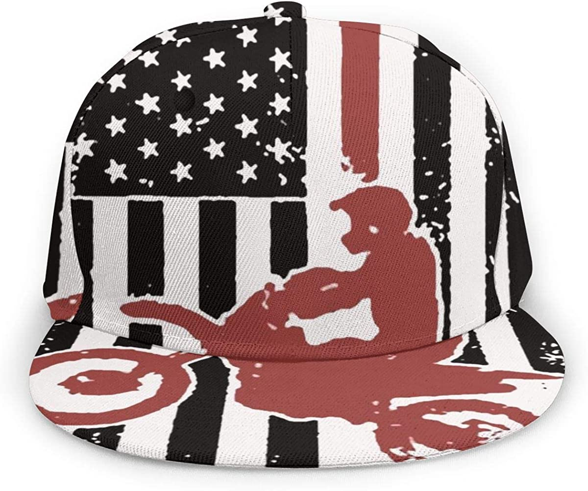 Kunming~ USA Flag Dirtbike Motocross Boy Adult Cap Adjustable Cowboys Hats Black