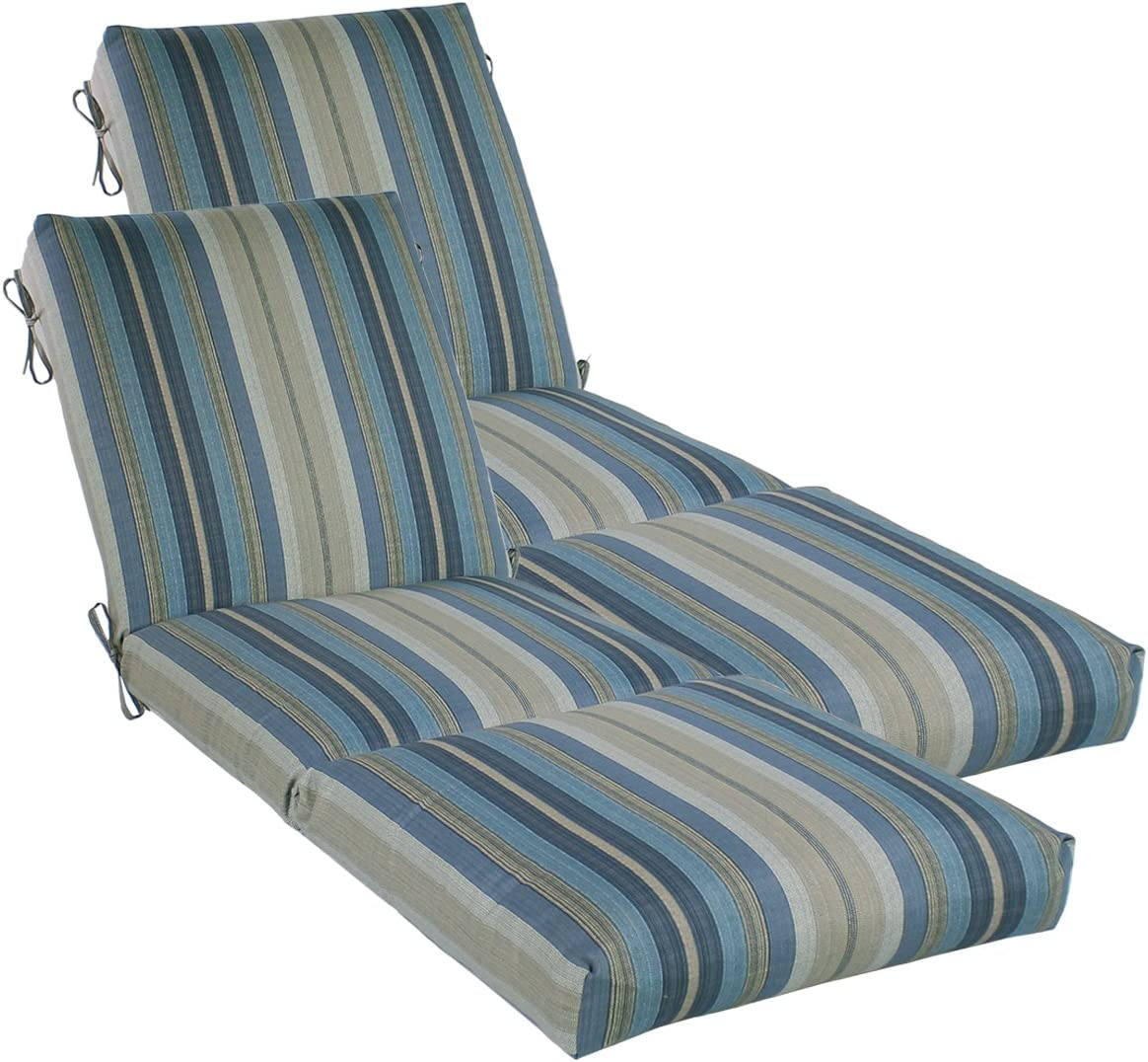 Comfort Classics Inc. Set of 2 Outdoor Channeled Chaise Cushion 23W x 72L x 4.5H Hinge at 26 in Polyester Fabric Stripe Blue