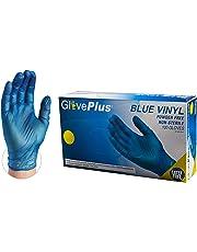 AMMEX Blue Vinyl 4Mil Disposable Gloves - Powder-Free, Food Safe, Non-Sterile, Latex Free, Medium, Box of 100