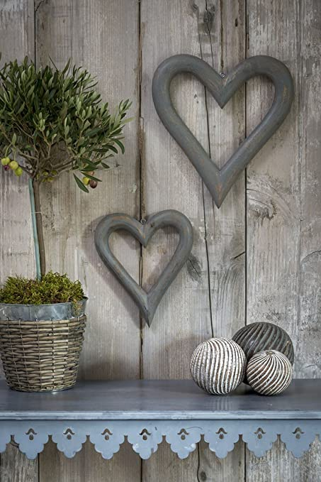 Set Of 2 Large Rustic Grey Wooden Hanging Hearts