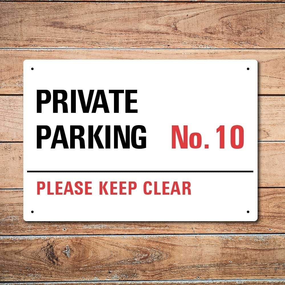 without drilled holes Wall Chimp Private Parking Personalised Metal Sign 20cm x 15cm