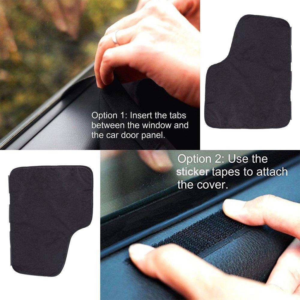 ASOCEA Protector de puerta de coche para perros 2 piezas, negro coche puerta protector Scratch Shield Panel cubierta lateral