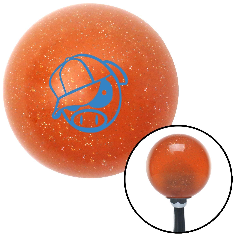 American Shifter 46089 Orange Metal Flake Shift Knob with 16mm x 1.5 Insert Blue Rally Pig