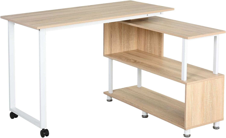 HOMCOM L-Shaped Computer Corner Desk and Rotating Shelf Combo for Home Office, Oak Color