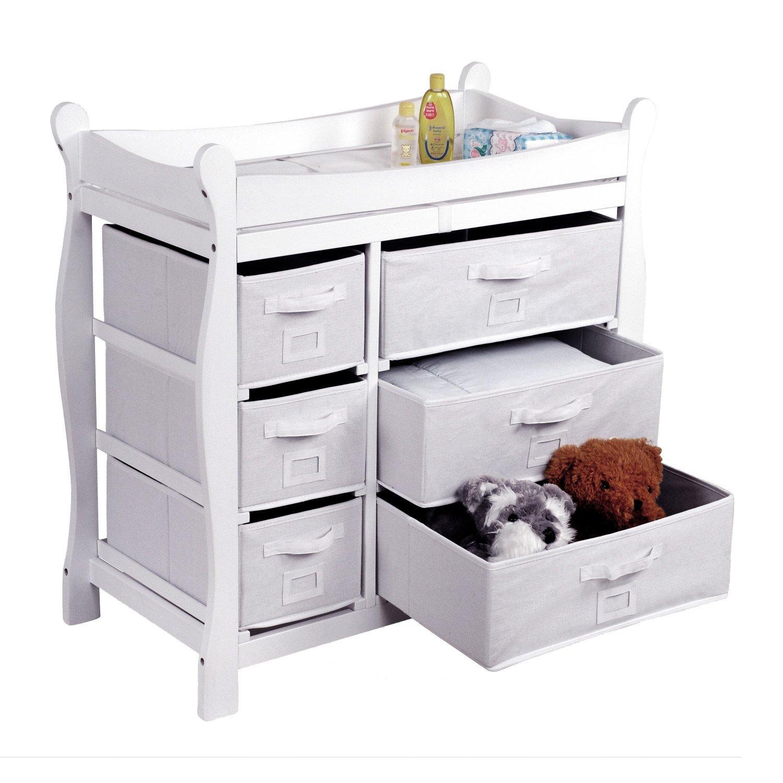 C/ómoda para la habitaci/ón cambiador Color Blanco con elementos de tela