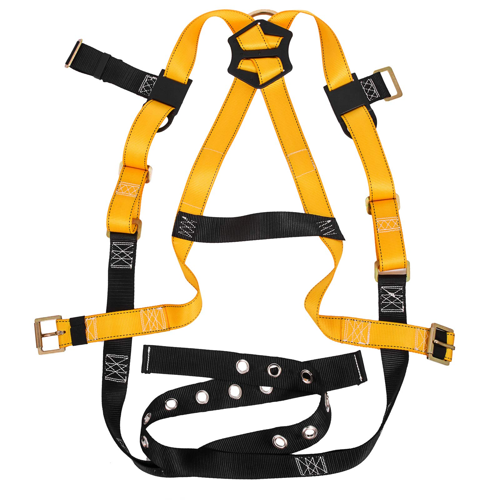 Happybuy Construction Safety Harness Fall Protection Full Body Safety Harness with 3 D-Rings,Belt and Additional Padding (Yellow with Belt) by Happybuy (Image #6)