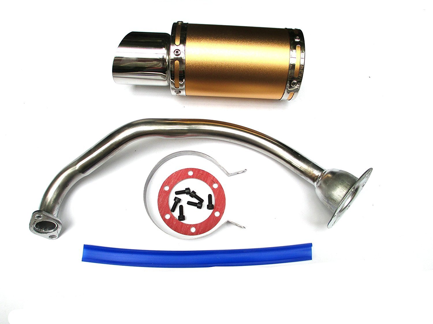 NEW! High Performance Exhaust System Muffler for GY6 50cc-400cc 4 Stroke Scooters ATV Go Kart (Gold)
