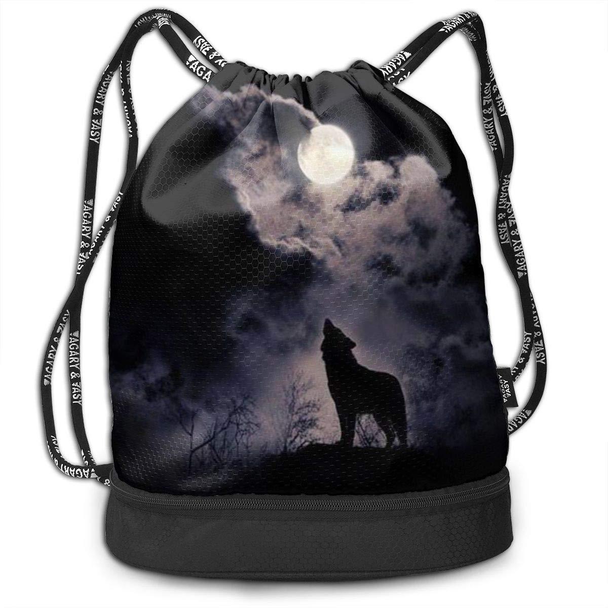 ewtretr Bolsos De Gimnasio Wolf Multifunctional Bundle Backpack Shoulder Bag For Men and Women