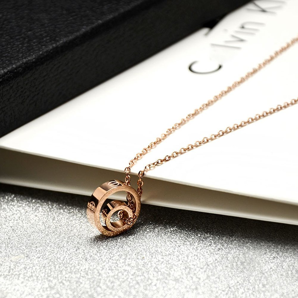 Fire Ants Love Necklaces - Women's Lucky Fashion Eternal Double Ring Necklace (Rose Gold-A) by Fire Ants (Image #3)