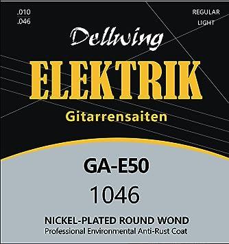 Dellwing Cuerdas guitarra eléctrica - Cuerdas níquel de primera calidad para guitarra eléctrica - Juego de