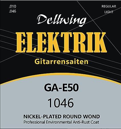 Dellwing Cuerdas guitarra eléctrica – Cuerdas níquel de primera calidad para guitarra eléctrica – Juego de