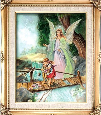 Amazoncom Guardian Angel Crossing Bridge Antique Finish Print