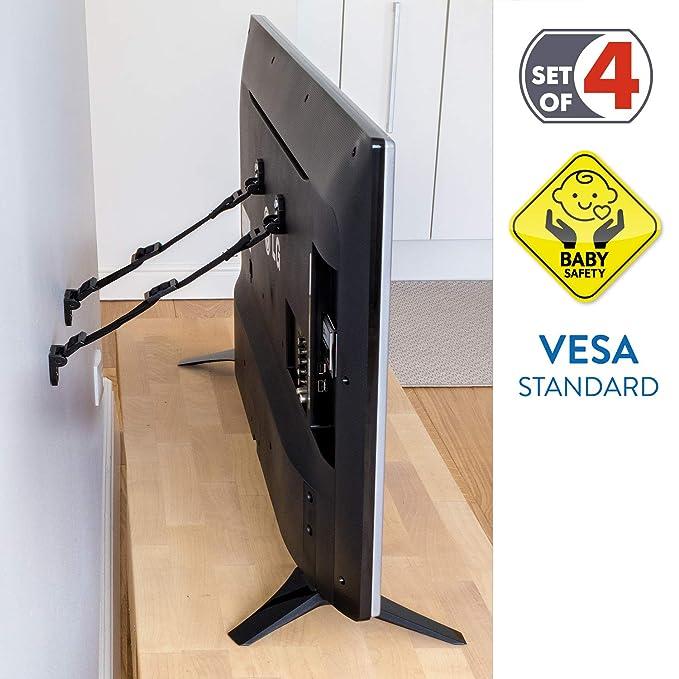 Tatkraft Protect Correa de Seguridad TV/Correa de Nylon Universal/Abrazadera para Muebles de Seguridad para Niños 4 Pack, 2 Blancos / 2 Negros: Amazon.es: ...