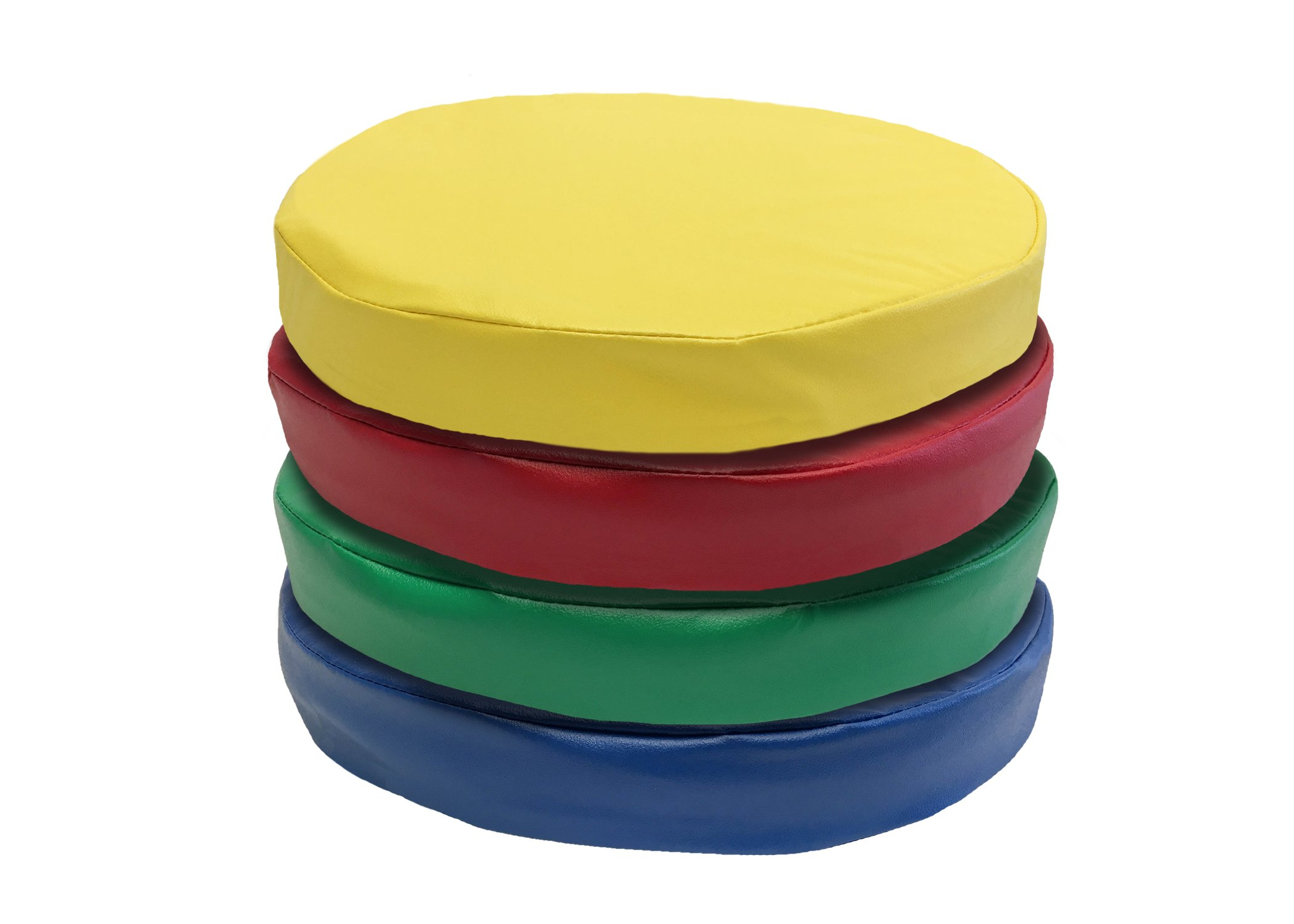 Kindermat Floor Disks/Seats, Story Time Cushions For School Or Home, 16'' Wide by 2'' Thick, 4 Pack with Yellow, Blue, Green, Red