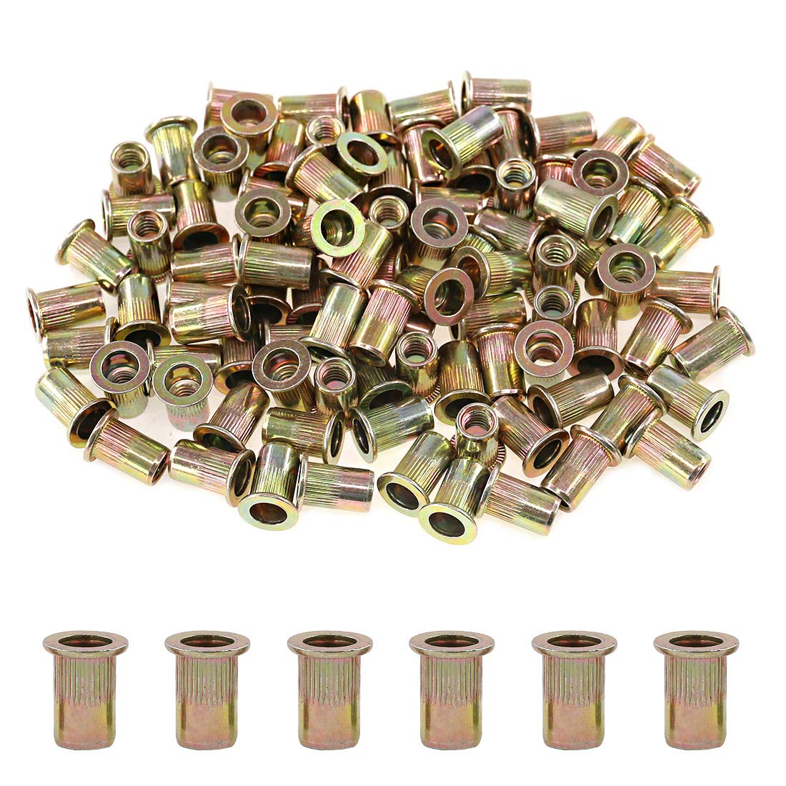 Rivet Nut 100 Pieces 10-24UNC Carbon Steel Flat Head Rivnut Threaded Insert