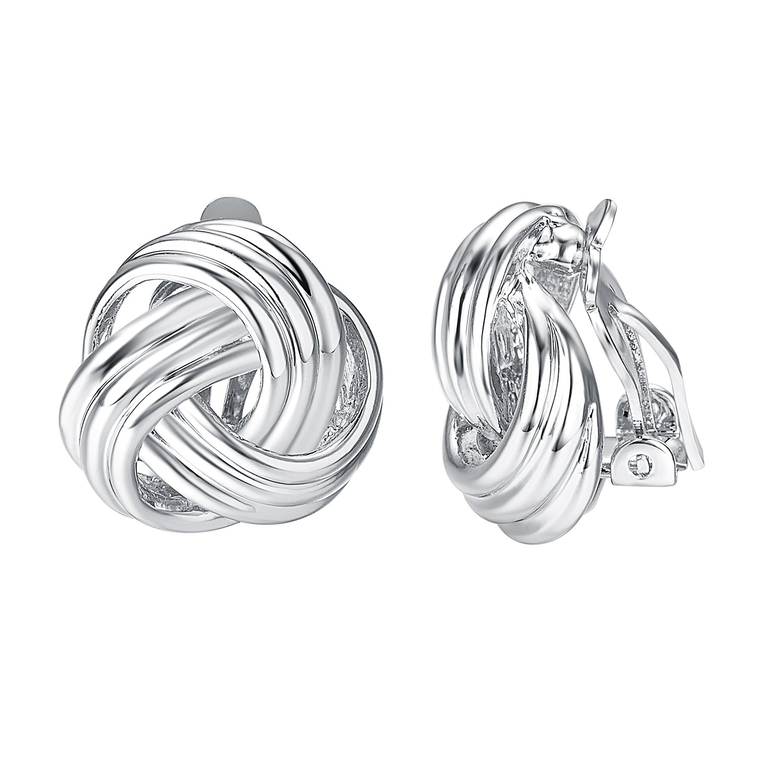 Yoursfs Statement Clip on Earrrings for Women18K White Gold Plated Love Knot Earrings