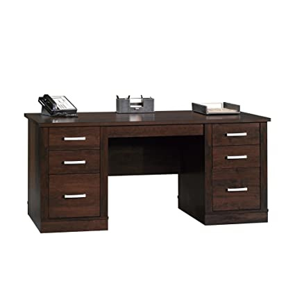 Amazon Com Sauder 408289 Office Port Executive Desk Dark Alder