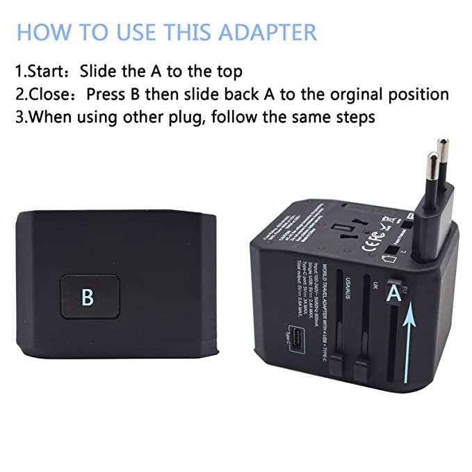International Travel Power Adapter,Worldwide All in One Wall Charge with 4 USB + Type C Charging Ports AC Plug Adapter for US,EU,UK,AU,Over 150 ...