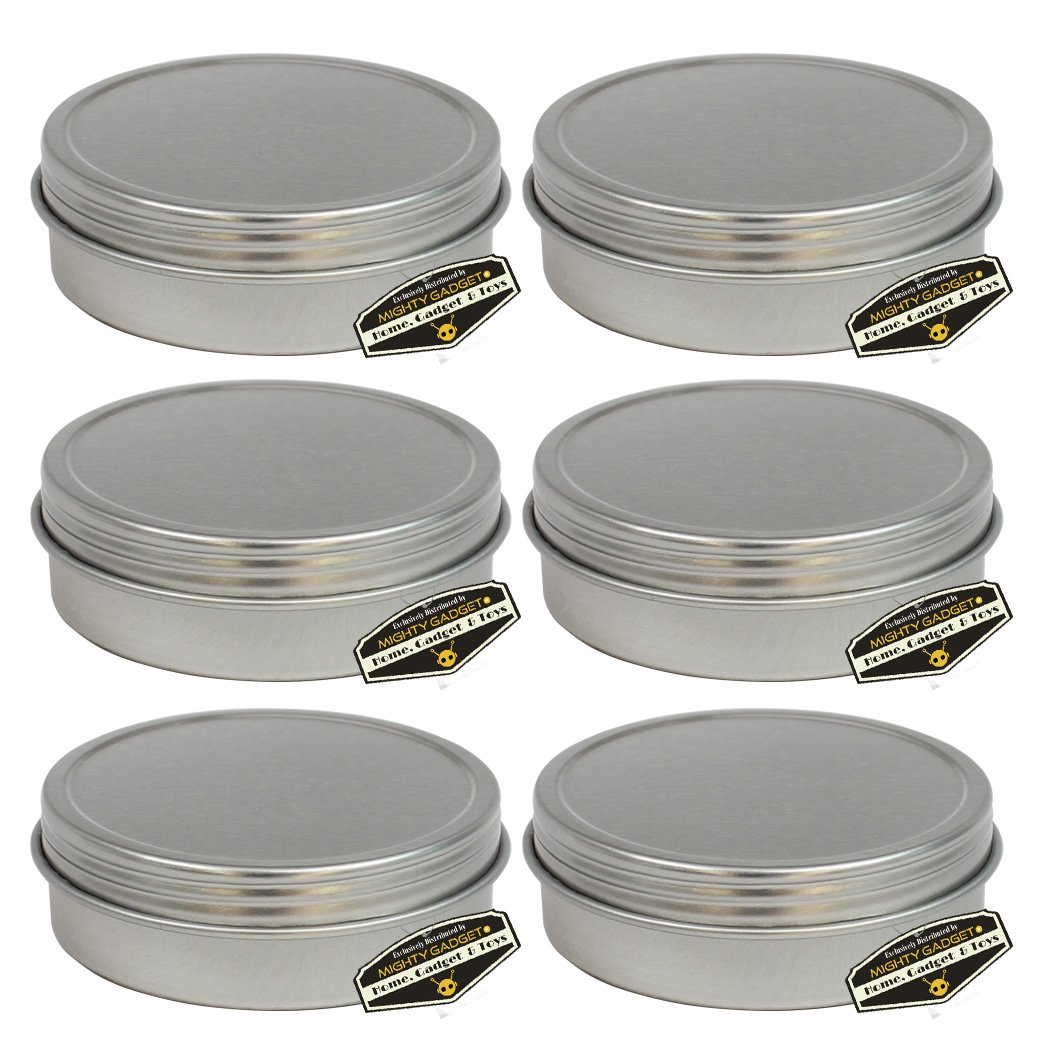 Mighty Gadget (R) 1/2 oz Mini Round Tins Screw Lid Container (6 pack)
