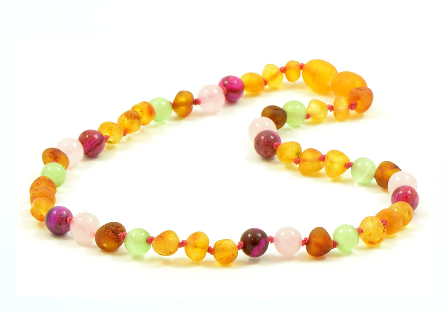 Amber Teething Necklace for Baby Raw Honey Amber//Rose Agate//Quartz//Cat Eye Beads 13.4 inch 12.6-14.1 inches Amber Jewelry Unisex Hand-Made from Certified Baltic Amber Beads