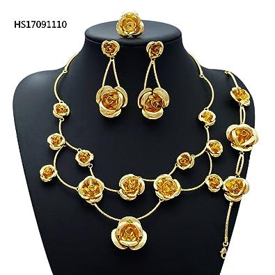 326180877d3 Yulaili Bijoux Coffrets Cadeaux pour Filles Africain Fantaisie Collier Mode Femme  Plaqué Or 18 K Accessoire