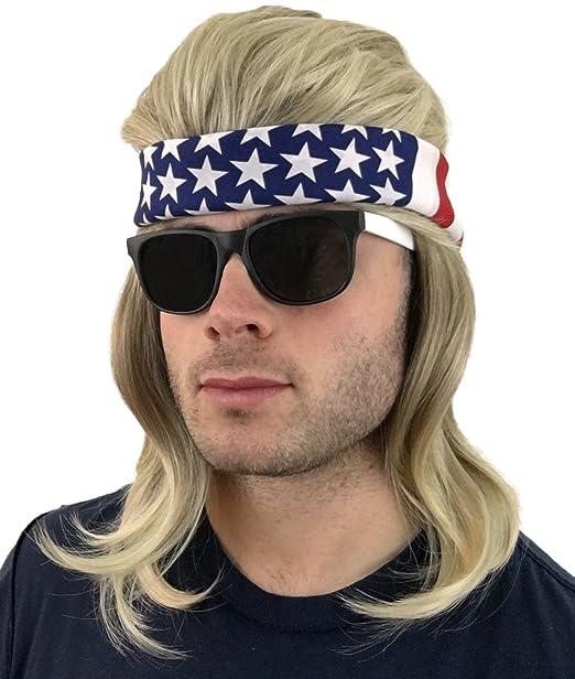 4 pc. Mullet Wig + Bandana + Sunglasses  Hillbilly Redneck Costume ... 7acbf7816a