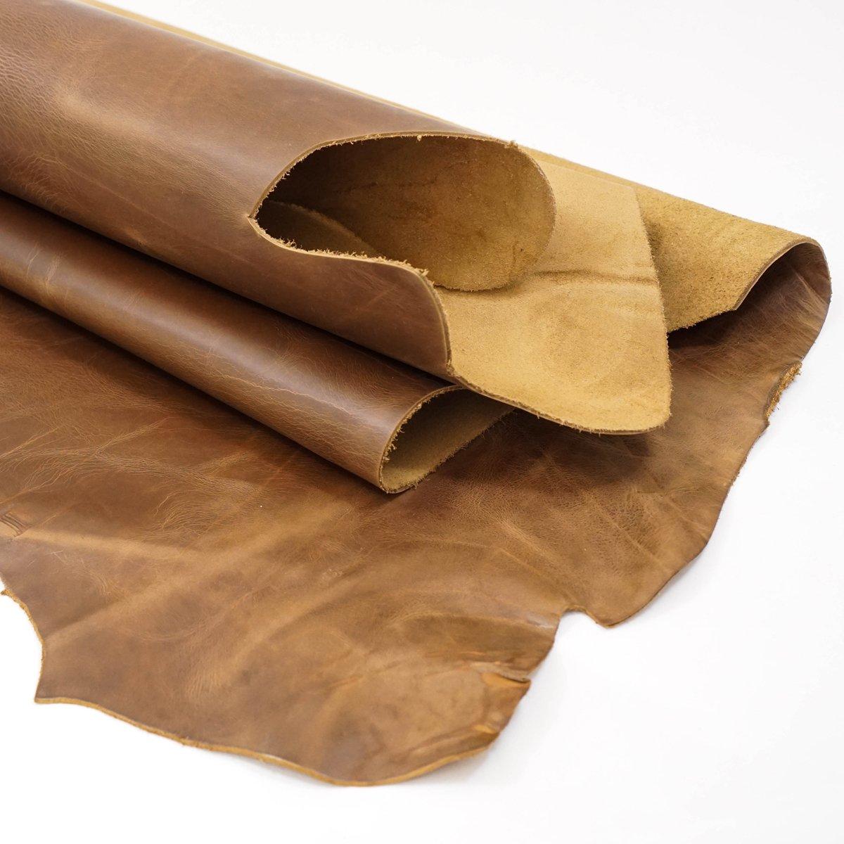 SLC's Irregular Shaped Earthtone Oil Tan Leather Piece 10-13sqft