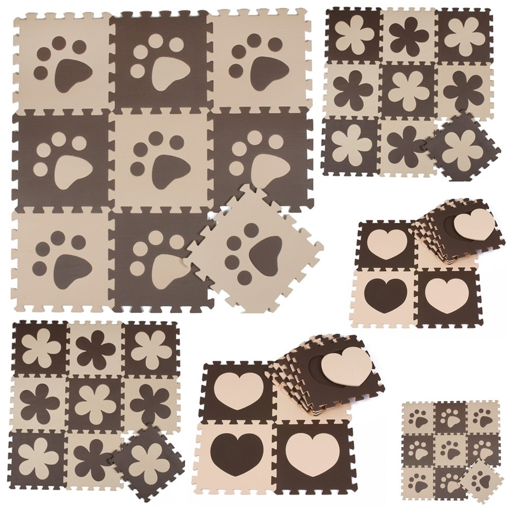 Menu Life Beige et café Couleur souple Tapis de jeu en mousse de tapis de puzzle 30x 30x 1cm en Tapis de puzzle–Fleurs + empreintes + Cœur