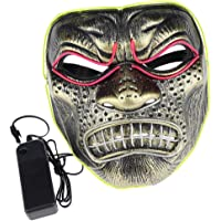Baosity LED Light Up EL Wire Evil Mask Halloween Rave Party Cosplay Costume