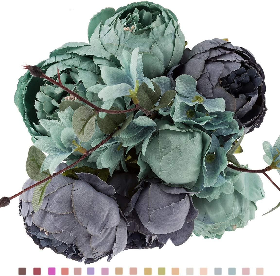 EZFLOWERY 1 Pack Artificial Peony Silk Flowers Arrangement Bouquet for Wedding Centerpiece Room Party Home Decoration, Elegant Vintage, Perfect for Spring, Summer and Occasions (1, New Blue)
