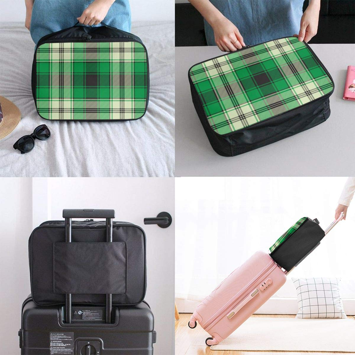 ADGAI Green Check Plaid Seamless Fabric Texture Canvas Travel Weekender Bag,Fashion Custom Lightweight Large Capacity Portable Luggage Bag,Suitcase Trolley Bag