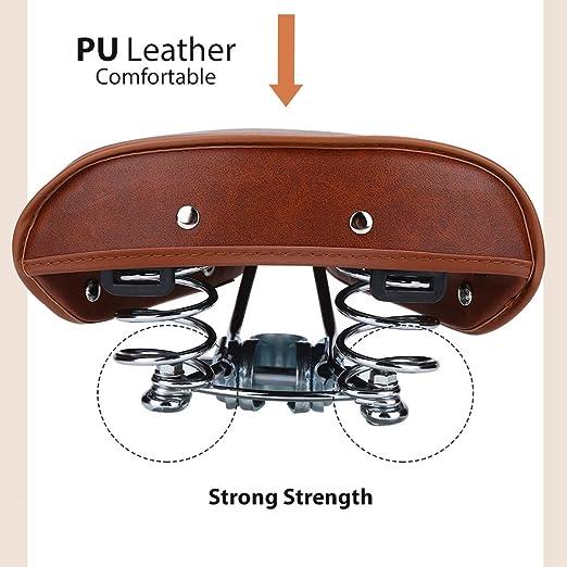 DEWIN - Asiento de Bicicleta de Piel sintética, Estilo Vintage, cómodo y Duradero, Accesorio para Bicicleta de Mujer y Hombre