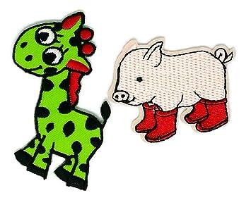Juego de 2 piezas de jirafa cerdo animal dibujos animados bordado para coser hierro sobre parche ...