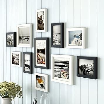 Bilderrahmen Collage 11 Rahmen, Massivholzkombination Kreatives Wohnzimmer  Treppenhaus Hintergrund Wanddekoration ( Farbe : Schwarz )