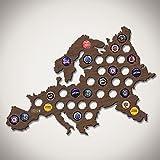 Europe Beer Cap Map - Walnut Stain